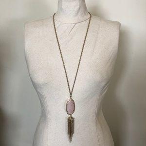 Kendra Scott Gold 'Rayne' Necklace in Rose Quartz